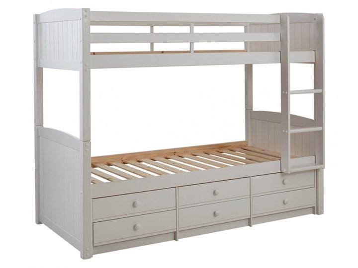 łóżko Piętrowe Anchise Z Możliwością Rozdzielenia 90 190 Cm Z Półkami Lakierowane Na Biało