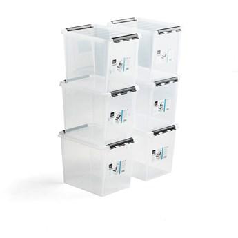 Pojemnik plastikowy LEE z pokrywą, 25 L, 6 szt., 400x300x320 mm, przezroczysty