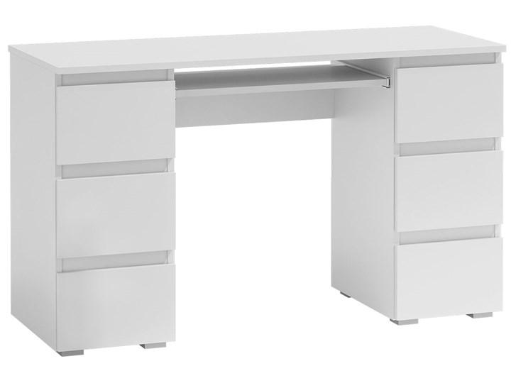 Białe biurko komputerowe - Liner 2X Głębokość 50 cm Płyta meblowa Głębokość 130 cm Kategoria Biurka Kolor Biały