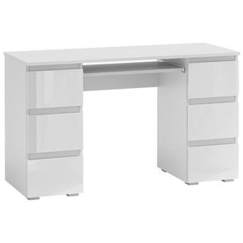Lakierowane biurko dla ucznia Liner 3X - biały połysk