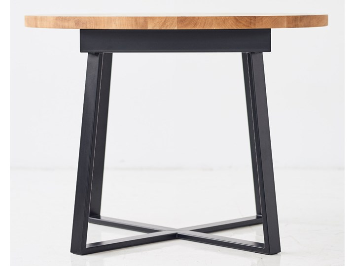 Okrągły stół dębowy rozkładany ST9 Kształt blatu Owalny Stal Wysokość 76 cm Szerokość 110 cm Długość 160 cm  Drewno Kategoria Stoły kuchenne
