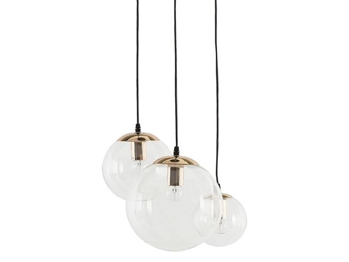 Lampa wisząca przezroczysta szklana 3-punktowa kuliste klosze Szkło Mosiądz Kategoria Lampy wiszące Lampa z kloszem Metal Kolor Przezroczysty