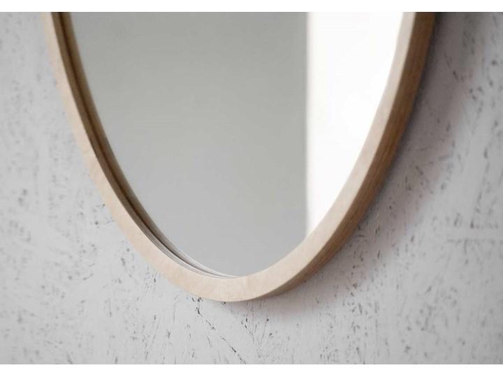 Lustro Scandi Wood – okrągłe w ramie ze sklejki Ścienne Styl Nowoczesny Lustro z ramą Pomieszczenie Salon