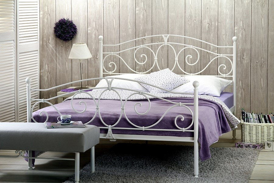 łóżko Metalowe Kute Sylvia Dwa Szczyty Dwuosobowe