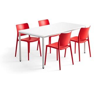 Zestaw mebli MODULUS + RIO, stół + 4 krzesła czerwony