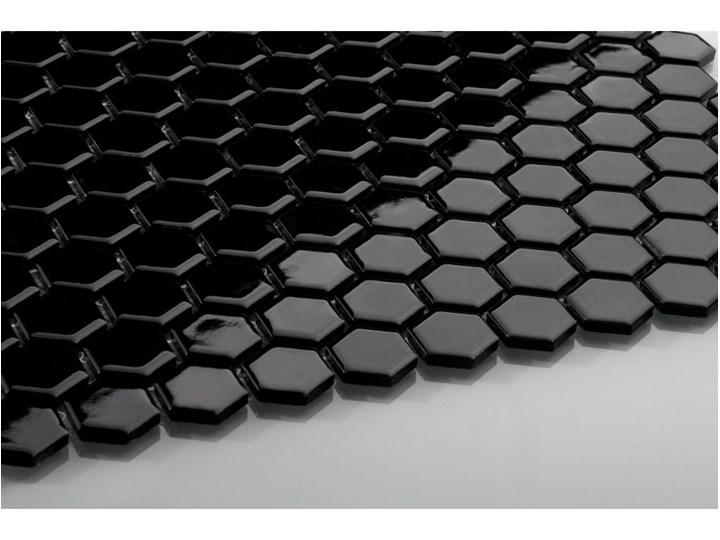Hexagon Mały Czarny Szkliwiony Płytki Zdjęcia Pomysły