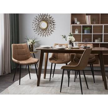 Zestaw 2 krzeseł brązowych ekoskóra z czarnymi metalowymi nogami do jadalni styl nowoczesny minimalistyczny sztuczna skóra ekologiczna