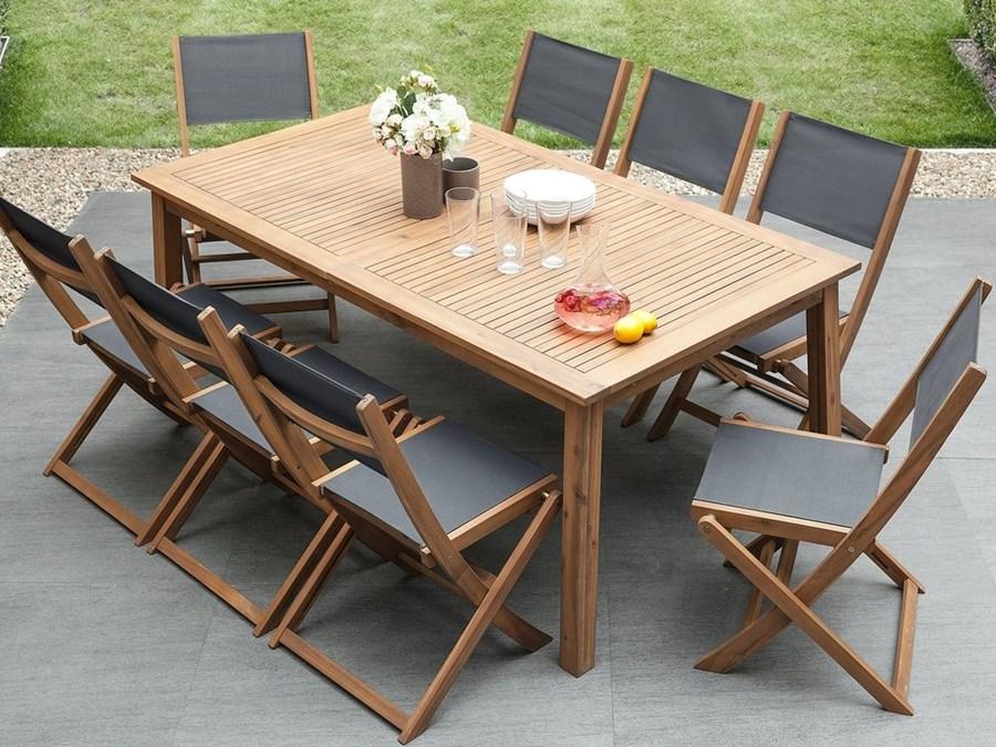 Zestaw Do Ogrodu 2 Krzesła Drewniane Textilene Ciemnoszare Cesana