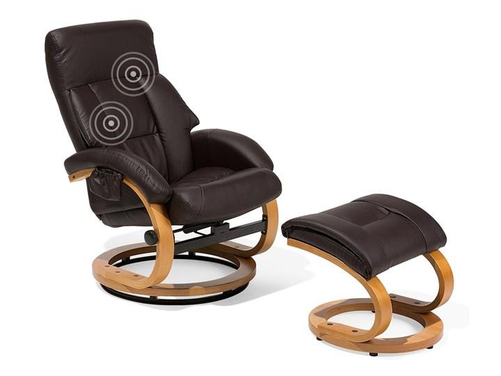 Fotel wypoczynkowy podgrzewany z masażem i podnóżkiem brązowy ekoskóra drewniana rama odchylane oparcie Tkanina Skóra ekologiczna Fotel masujący Tworzywo sztuczne Drewno Styl Vintage Kategoria Fotele do salonu