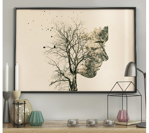 DecoKing - Plakat ścienny - Girl Silhouette -Tree