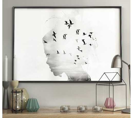 DecoKing - Plakat ścienny – Girl Silhouette - Birds