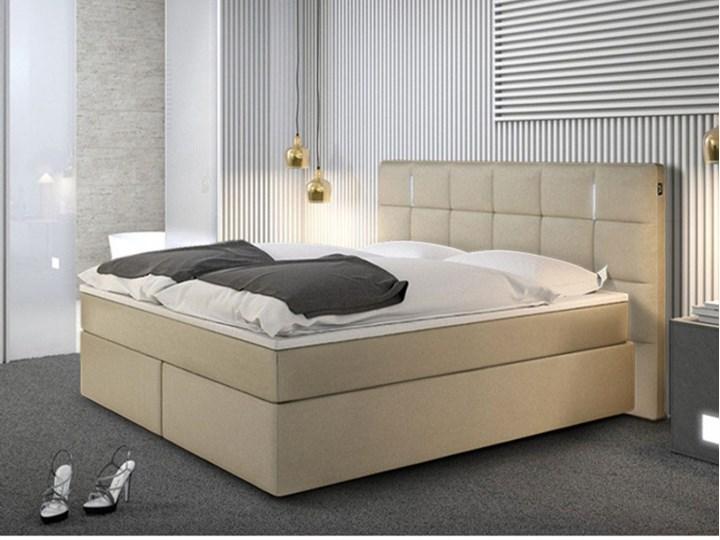 Zestaw Boxspring Zagłówek łóżka Z Oświetleniem Led Stelaż Materac Nakładka Na Materac Bilbao 160 200 Cm Skóra Ekologiczna Kolor Beżowy