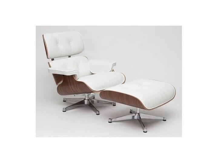 Fotel Vip z podnóżkiem biały/walnut/srebrna baza Wysokość 43 cm Fotel z podnóżkiem Skóra Wysokość 85 cm Głębokość 54 cm Skóra Skóra Skóra