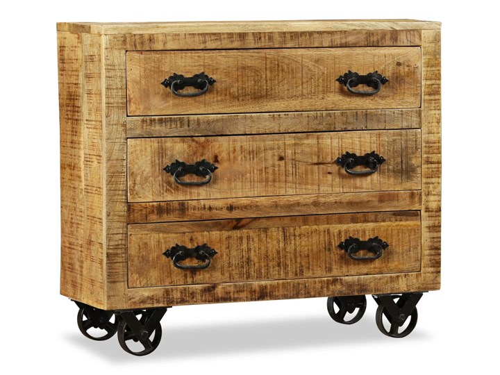 vidaXL Komoda z 3 szufladami, surowe drewno mango Głębokość 30 cm Z szufladami Pomieszczenie Sypialnia