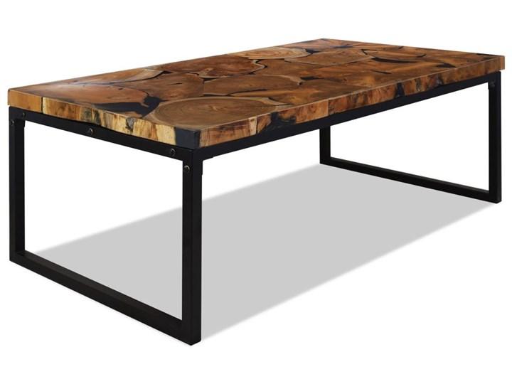 vidaXL Stolik kawowy z drewna tekowego i żywicy, 110 x 60 x 40 cm Drewno Stal Kolor Czarny