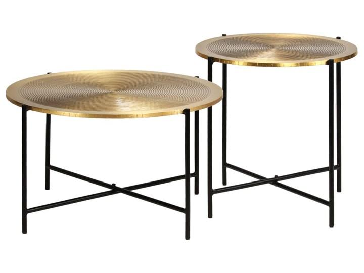 vidaXL Zestaw 2 stolików, płyta MDF pokryta mosiądzem Zestaw stolików Stal Metal Kategoria Stoliki i ławy