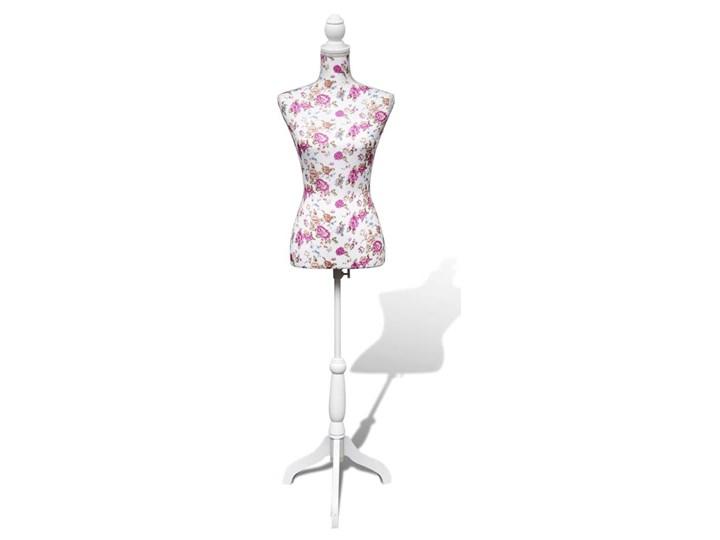 Poważne vidaXL Manekin kobiecy, korpus, bawełna z różanym wzorem, biały PJ05