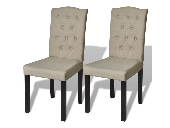 vidaXL Krzesła do jadalni tapicerowane tkaniną, beżowe, 2 szt. drewno Głębokość 50 cm Szerokość 42 cm Wysokość 95 cm drewno Drewno Wysokość 46 cm