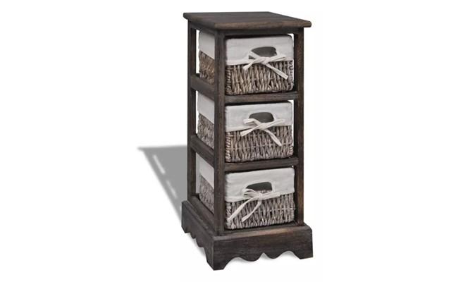 8cb0680b97096d vidaXL Drewniana szafka z 3 koszykami, brązowa - Szafki i regały - zdjęcia,  pomysły, inspiracje - homebook