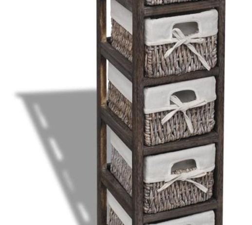 118839f6b060ae vidaXL Drewniana szafka z 5 koszykami, brązowa - Szafki i regały - zdjęcia,  pomysły, inspiracje - homebook