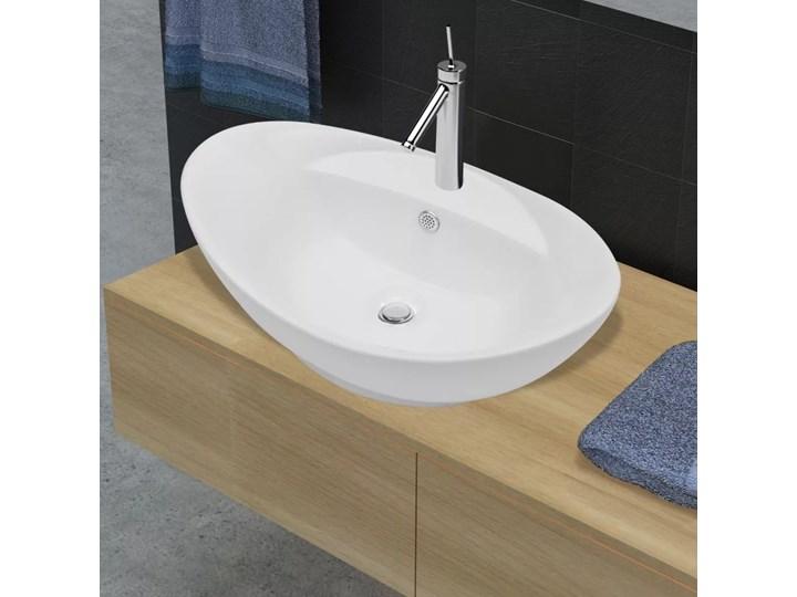 vidaXL Luksusowa umywalka owalna z otworem przelewowym i na baterię Ceramika Owalne Kategoria Umywalki
