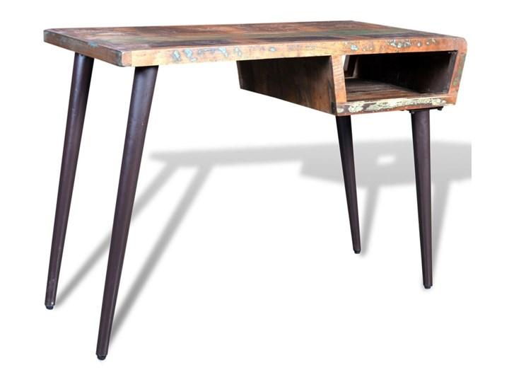 vidaXL Drewniane biurko z metalowymi nogami Szkło Szerokość 110 cm Głębokość 50 cm Drewno Szkło Drewno