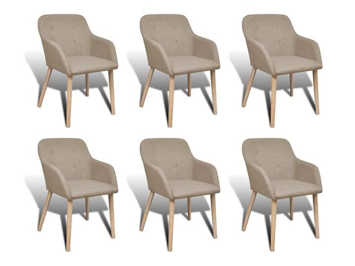 vidaXL Krzesła do jadalni z dębową ramą, 6 szt., materiałowe, beżowe Szerokość 40 cm Głębokość 42 cm Tkanina drewno Wysokość 37 cm drewno Drewno