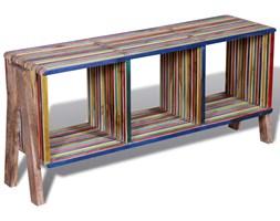 vidaXL Kolorowa szafka pod Tv z odzyskiwanego drewna tekowego, z 3 półkami