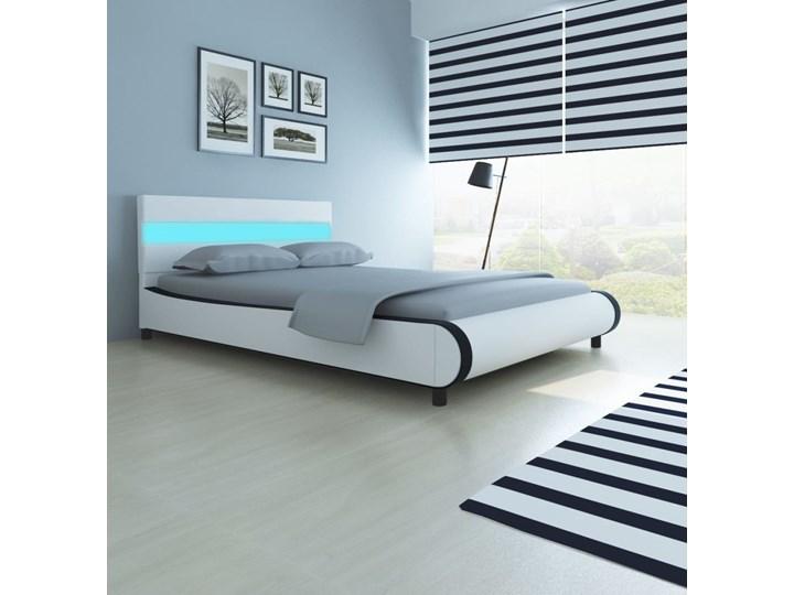 vidaXL Rama łóżka LED, biała, sztuczna skóra, 140 x 200 cm