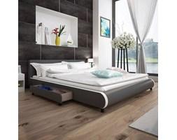 vidaXL Rama łóżka z szufladami, szara, sztuczna skóra, 180x200 cm