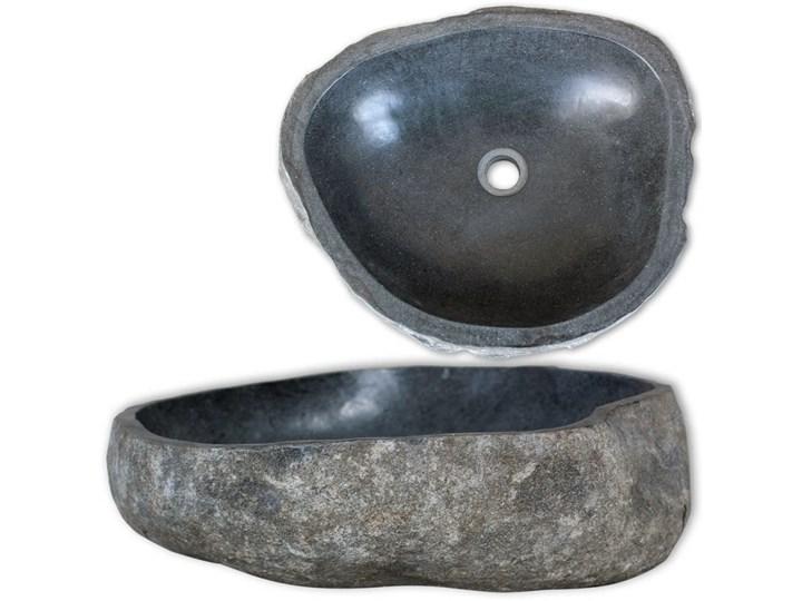 vidaXL Owalna umywalka z kamienia rzecznego, 46-52 cm Owalne Kamień naturalny Kategoria Umywalki Kolor Czarny
