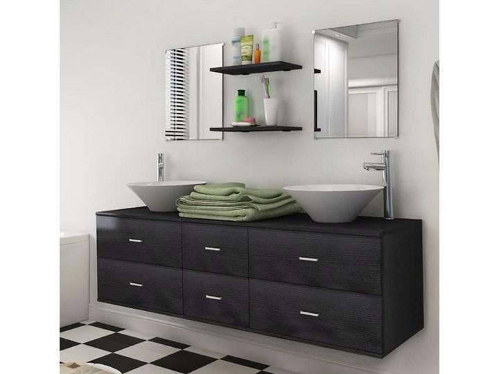 vidaXL Zestaw do łazienki z umywalką, 7 elementów, czarny ceramika Styl nowoczesny