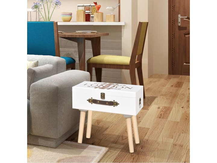vidaXL Szafka w kształcie białej walizki 40 x 30 x 41,5 cm Drewno Płyta MDF drewno płyta MDF Wysokość 42 cm Styl klasyczny Styl vintage