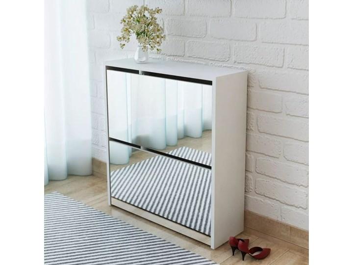 vidaXL Szafka na buty z 2 półkami i lustrem, biała, 63x17x67 cm Płyta MDF Kolor Biały