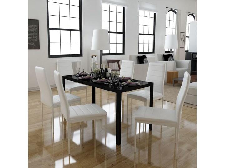 vidaXL Zestaw mebli do jadalni - 7 elementów czarny i biały Styl klasyczny skóra szkło Styl klasyczny
