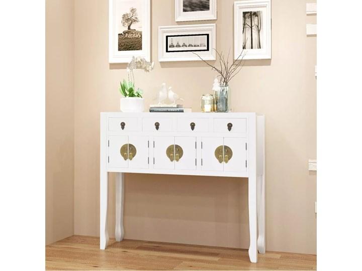 vidaXL Mała komoda w stylu chińskim biała lite drewno Głębokość 24 cm Szerokość 95 cm Wysokość 91 cm Styl orientalny