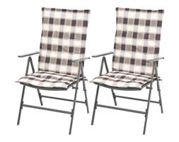 vidaXL Sztaplowane krzesła ogrodowe z poduszkami, 2 szt., stal, szare