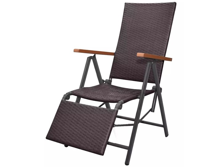 vidaXL Rozkładane krzesło tarasowe, polirattan, brązowe