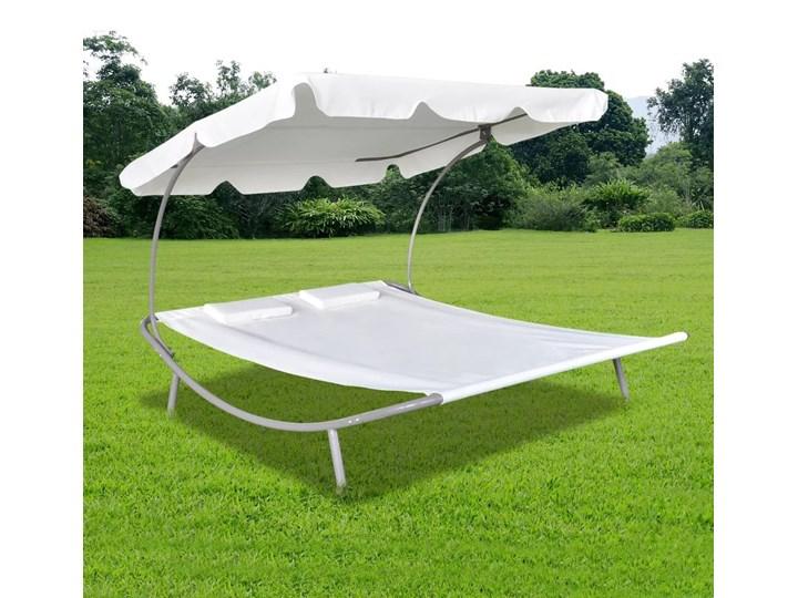 vidaXL Podwójny leżak z baldachimem i 2 poduszkami, kremowy Tworzywo sztuczne Tworzywo sztuczne Metal Metal