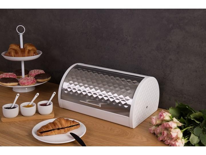 Chlebak ze stali nierdzewnej, dekoracyjny pojemnik typu modern na pieczywo.