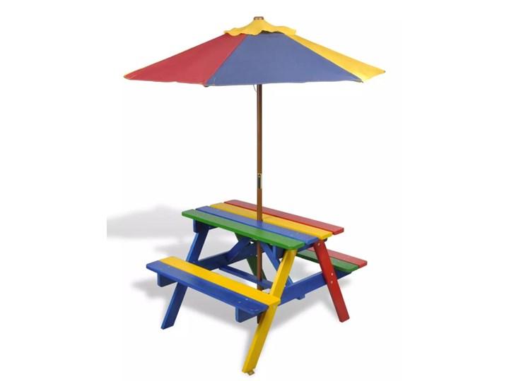 vidaXL Zestaw piknikowy dla dzieci ławki i stolik z parasolem Tkanina Drewno Drewno Tkanina