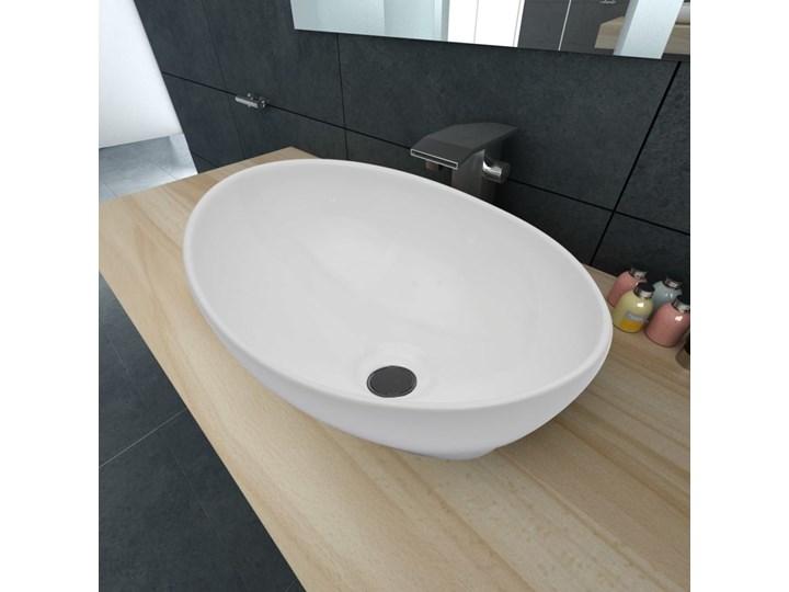 vidaXL Luksusowa ceramiczna umywalka, owalna, biała, 40 x 33 cm Owalne Ceramika Szerokość 40 cm Kolor Biały Kategoria Umywalki