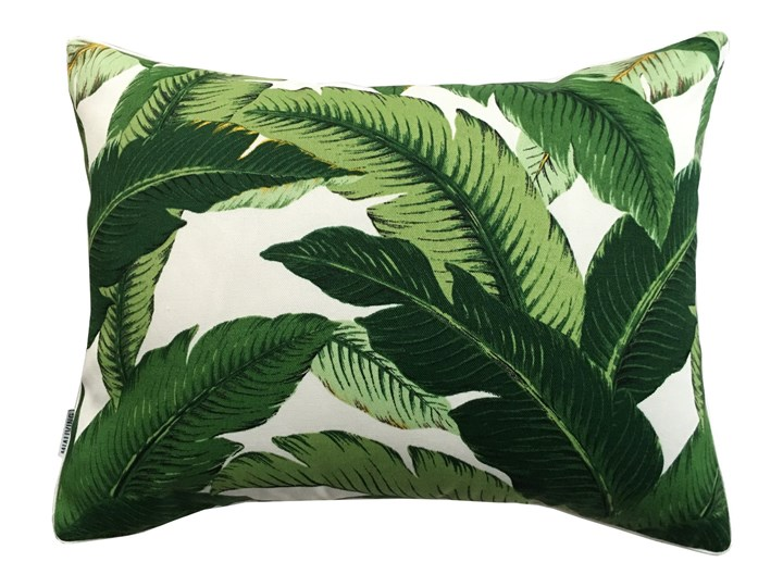 Poduszka dekoracyjna Bahama Green w zielone liście bananowca, Rozmiar: 32 x 43 cm