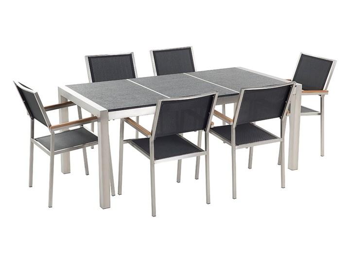 Zestaw mebli ogrodowych jadalniany czarny palony stół granit/bazalt 180 x 90 cm 6 krzeseł tekstylnych sztaplowanych Tworzywo sztuczne Stal Stoły z krzesłami Styl Nowoczesny
