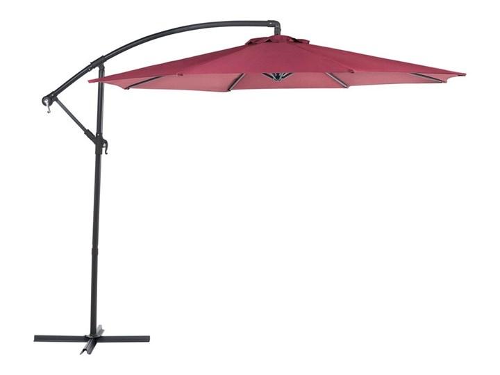 Parasol ogrodowy burgundowy na wysięgniku Ø300 cm podwieszany ciemnoszara stalowa rama Parasole Kolor Czerwony Kategoria Parasole ogrodowe