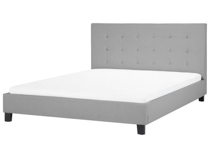 Łóżko jasnoszare tapicerowane 160 x 200 cm ze stelażem pikowany zagłówek