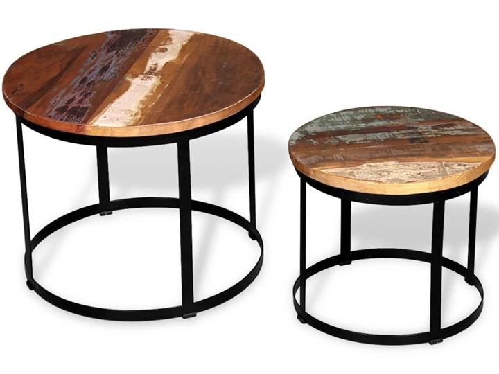 Vidaxl Dwa Stoliki Do Kawy Z Odzyskanego Drewna Okrągłe 40 I 50 Cm