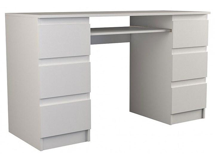 Białe biurko komputerowe - Liner 2X Głębokość 50 cm Głębokość 130 cm Kolor Biały Płyta meblowa Kategoria Biurka