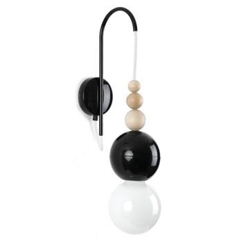LOFT BALA CZARNY KINKIET kinkiet 1 x 60W E27 nowoczesny minimalistyczny czarny design koraliki KOLOROWE KABLE LBCZKB09