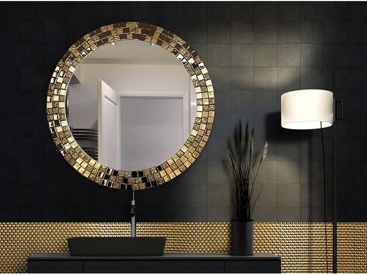 Lustro Aurea Gold Pomieszczenie Salon Okrągłe Lustro z ramą Ścienne Styl Nowoczesny